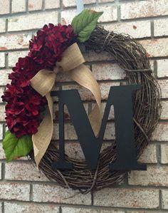 Personalized Hydrangea Grapevine Wreath - Monogram Wreath with Burlap Bow - Spring Wreath - Summer Wreath - Initial Wreath - Fall Wreath by CozyHomeWreaths on Etsy https://www.etsy.com/listing/242155041/personalized-hydrangea-grapevine-wreath