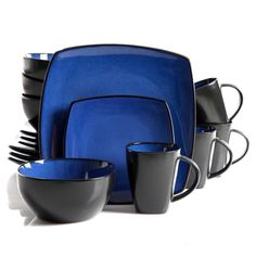 Gibson Soho Lounge Square dinnerware set including: 4 dinner plates, 4 dessert plates, 4 soup/salad bowls, 4 mugs, Blue Stoneware Dinner Set Reactive Glazes Dishwasher and Microwave safe Suitable for wide range of any table settings. Dinnerware Sets Walmart, Dinnerware Sets For 12, Stoneware Dinnerware Sets, Square Dinnerware Set, Casual Dinnerware, Tableware, Kitchenware, Dinnerware Ideas, Gibson Dinnerware