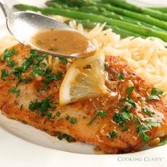 This chicken has such a delicious bright fresh flavor It comes out perfectly cooked and tender and that sauce is the perfect compliment to chicken A must try recipe chicken dinner easydinner dinnerideas lemon butter easy quick homemade food recipe Meat Recipes, Healthy Recipes, Pasta Recipes, Recipes With Chorizo, Fish Recipes, Quick Food Recipes, Quick Recipes For Dinner, Baked Tilapia Recipes, Breaded Chicken Recipes
