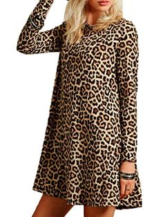 45c2cec854 online shopping for Joeoy Women s Casual Leopard Print Long Sleeve Dress  from top store. See new offer for Joeoy Women s Casual Leopard Print Long  Sleeve ...