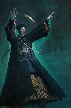 "A jiangshi, also known as a Chinese ""hopping"" vampire or zombie, is a type of reanimated corpse in Chinese legends and folklore. It is typically depicted as a stiff corpse dressed in official garments from the Qing Dynasty, and it moves around by hopping, with its arms outstretched. It kills living creatures to absorb their qi, or ""life force"", usually at night, while in the day, it rests in a coffin or hides in dark places such as caves"