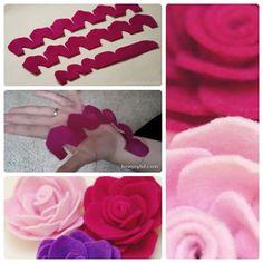 Rosas de fieltro de howjoyful. En la publicación encontraréis las plantillas descargables ;)