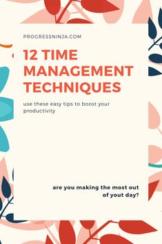 These 12 time management techniques will boost your productivity. Personal development is easy when you know how to manage your time! Time Management Techniques, Time Management Strategies, Saving Tips, Time Saving, Effective Time Management, Limbic System, Tired Of Work, Productive Things To Do, Day Plan
