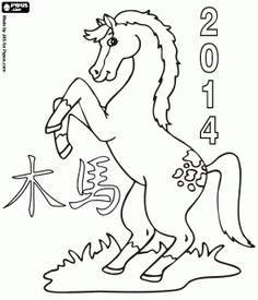 CNY chinese new year coloring pages year of the horse