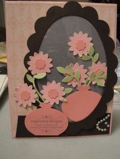 Stampin Up punch art vanity mirror cased from Jackie Topa from angieannadesigns.