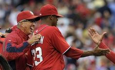 April 14th - WSH vs CIN - Winning pitcher Edwin Jackson is congratulated by manager Davey Johnson. Final Score: 4-1. Nationals are 7-2 this season, currently first in the NL East.