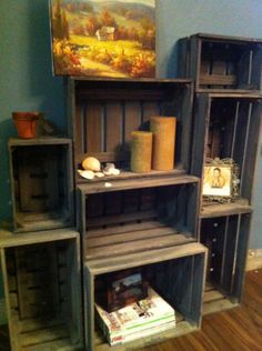 Wooden Crate Shelves Great Idea