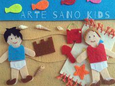 Playa. Quietbook/Libro sensorial by Arte Sano KIDS. Juguetes sensoriales y educativos hechos a mano. Visita nuestra página de Facebook: Arte Sano KIDS. Instagram: @artesanokids