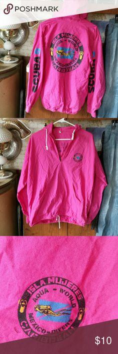 Hot pink pop over Super rad graphics,  light weight hoodie.  Draw string bottom Tops Sweatshirts & Hoodies