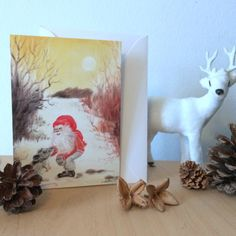 """Christmas Card: """"Gnome and mouse"""". Xmas, holiday, cards, greeting, winter, nordic, traditional, woodland, hygge, gnome, nisse, tomte, mouse by ArtLisbethThygesen on Etsy"""
