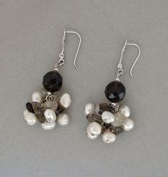 Vintage STERLING Silver Gemstone EARRINGS Pearls Smoky QUARTZ Beaded Drops Handmade Hallmarked