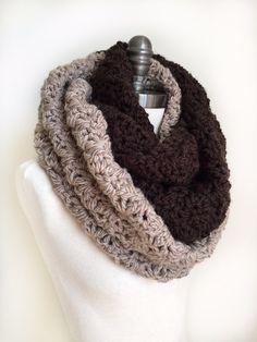 Chunky Infinity Scarf Dark Brown Crochet by RavensMoonDesigns