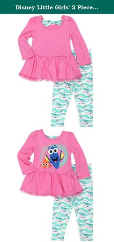 Disney Little Girls' 2 Piece Finding Dory Long Sleeve Top with Tulle and Legging Set, Pink, 4. 2 piece finding dory tunic with ruffled tulle and legging. There is a bow on the back of the neck.