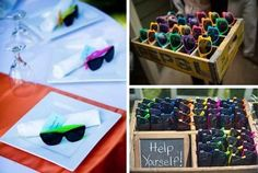 Give sunglasses as wedding favors.
