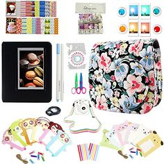 Elvam 12 in 1 Camera Accessory Bundles Set for Fujifilm Instax Mini 8  Black Small Floral Mini 8 CaseCamera StrapAlbumFilm FramesStickersBorder StickersLensFilterOwl ClipPensScissors -- Click on the image for additional details. (Note:Amazon affiliate link)