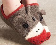 Crocheted & felted Sock Monkey Slippers - Knitting Patterns and Crochet Patterns from KnitPicks.com $3.99