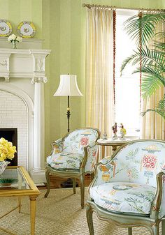 LOVE this room! Beautiful green tone on tone wallpaper & chairs upholstered in lovely Thibaut fabric! Classic!