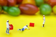 Chef Painting - Chef Tumbled In Front Of Colorful Tomatoes Little People On Food by Paul Ge