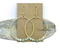 Beaded Hoop Earrings, Aqua Terra Jasper, Gold Wire Hoop Earrings, Boho Earrings, Hippie Jewelry, Beaded Earrings, Seed Bead Earrings, Gifts