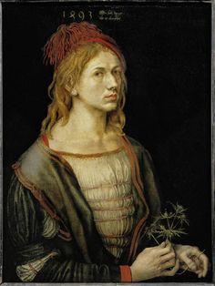 date 1493 - Albrecht Dürer, self-portrait at age 22 - Musée du Louvre, Paris, France