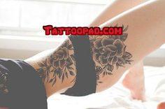 black flower tattoos, thigh tattoos and rose tattoos. #tattoo #tattoos #ink