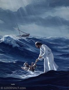 """Jesus reached out his hand and caught him. """"You of little faith,"""" he said, """"why did you doubt?""""Immediately Jesus reached out his hand and caught him. """"You of little faith,"""" he said, """"why did you doubt? Pictures Of Jesus Christ, Religious Pictures, Religious Art, Images Bible, Bible Pictures, Image Jesus, Jesus Christus, Prophetic Art, Jesus Art"""