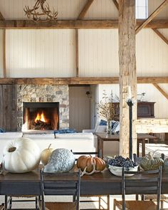 #fireplace  #ceiling  #walls -- one way to incorporate old wood without the room feeling dark.