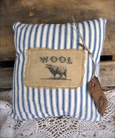 Primitive Pillow Sheep Wool  Blue and White by SweetLibertyBarn, $10.00