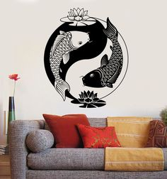 Our vinyl stickers are unique and one of a kind! Every sticker we sell is made per order and cut in house! We make our wall decals using superior quality interior and exterior glossy, removable vinyl Zen, Impression Textile, Yin Yang Tattoos, Koi Fish Tattoo, Art Decor, Decoration, Vinyl Wall Decals, Line Drawing, Chinese Philosophy