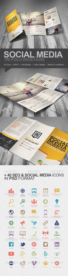 Social Media Marketing Tri-fold Brochure - Brochures Print Templates