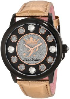 Paris Hilton Women's PH.13181JSB/02 Fame Pave Glitter Rose Leather Watch ** To view further, visit now