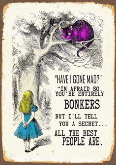 Vintage Metal Sign - Alice's Wonderland - Have I Gone Mad