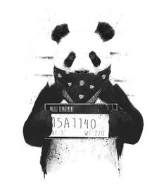 "Trademark Art ""Bad Panda"" by Balazs Solti Graphic Art on Wrapped Canvas Size: Bd Design, Panda Pillow, Arte Dope, Poster Mural, Arte Online, Painting Prints, Art Prints, Panda Wallpapers, Phone Wallpapers"