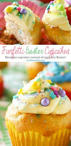Have fun & get creative with this Easter with Funfetti® Easter Cupcakes. They are an adorable Easter dessert idea that's great for your celebration! Decorating cupcakes is so much more fun than decorating eggs. With vibrant colors & an abundance of sprinkles, we can really bring out the imagination too. #MixUpAMoment #ad @pillsburybaking