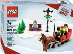 LEGO 2012 Holiday Set by LEGO. $28.98. Includes sleigh, snow, bench, 2 trees and 4 minifigures. Makes a great gift or seasonal decoration!. Also includes LEGO® horse with hinged legs. Trot through the snow with the horse and sleigh!. Build a snowy scene with a pine tree and wooden bench!. Dash through the snow in a one-horse open sleigh with this exclusive LEGO® set that will put you in the holiday spirit! Features streetlamp, horse with movable legs, 2 trees, ...
