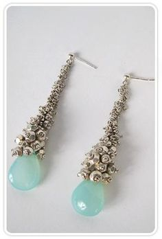Peruvian calcite earrings with silver beads.