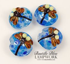 Blue Dragonfly set of 4, Made to Order -- BBL Handmade Lampwork Glass Beads SRA