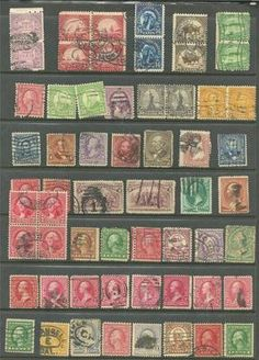 1893 -US valuable collection of 59 stamps # 205 -5¢ Garfie, # 268 -3¢ Jackson, # 65 - 3¢ Washington, # 269 - 4¢ Lincoln, rare blocks & pairs