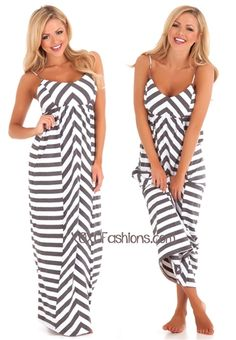 Gray and White Chevron Stripe Maxi Dress | Affordable and Trendy Boutique Clothing | Chevron Maxi Dress