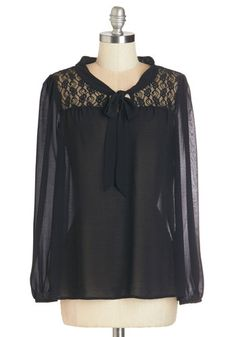 Subtly Sophisticated Top - Mid-length, Sheer, Woven, Lace, Black, Lace, Tie Neck, Party, Work, Long Sleeve