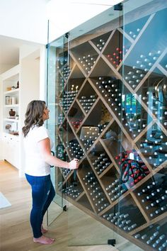 Gorgeous glass wine cellar as part of a modern, op. - Gorgeous glass wine cellar as part of a modern, op. Glass Wine Cellar, Home Wine Cellars, Wine Cellar Design, Wine Cellar Modern, Wine Cellar Racks, Modern Wine Rack, Wine Rack Design, Glass Bar, Hidden Spaces