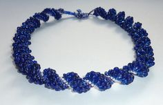 Beautiful Blue Cellini Spirale Necklace - Hand Woven - Hand Beaded-Statement Necklace - E79 -