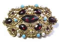 vtg FLORENZA signed BROOCH Pin Goldtone FAUX Garnet Turquoise pearls hearts #Florenza