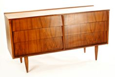 Mid Century Modern Dresser  Description:  1960's Funky Modernist Design in Walnut.