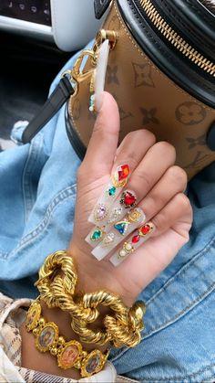 Drip Nails, Bling Acrylic Nails, Aycrlic Nails, Glam Nails, Best Acrylic Nails, Rhinestone Nails, Bling Nails, Cute Acrylic Nail Designs, Exotic Nails