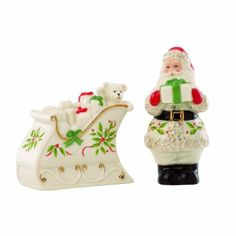 Lenox Holiday Santa & Sleigh Salt & Pepper Set by Lenox. $39.95. Salt & Pepper- one santa and one sleigh. Accented with 24 karat gold. Crafted of Lenox ivory bone china. Lenox Holiday Santa & Sleigh Salt & Pepper. Santa's ready to make a stop with his sleigh... on your holiday table. These miniature sculptures double as salt and pepper shakers. They're certain to be a conversation starter.