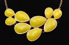 Statement necklace Bubble necklace Bib Necklace Yellow Necklace Velentine's Necklace gift Teardrop necklace for women jewlery jewelry on Etsy, $12.99