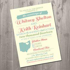 Vintage State Love Wedding Invitation - DIY Printable Invitation
