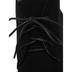 SheIn(sheinside) Black Faux Suede Lace Up Cork Heel Ankle Boots (€40) via Polyvore featuring shoes, boots, ankle booties, lace up boots, ankle boots, black bootie boots, lace up booties en black lace up boots