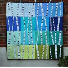 Last official finish shot to post this week, the birch tree quilt. The trees themselves are improvised with teeny tiny scraps and then… Quilting Tutorials, Quilting Projects, Quilting Designs, Tree Quilt Pattern, Quilt Patterns, Bird Quilt, Scrappy Quilts, Mini Quilts, Crumb Quilt